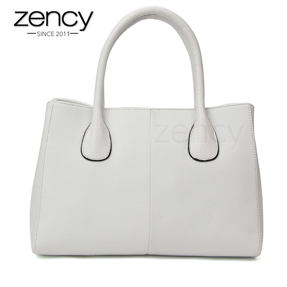 Zency 100 Genuine Leather Fashion Women Handbag Black High Quality Female Casual Tote Bag Office Las Business Purse White In Top Handle Bags From