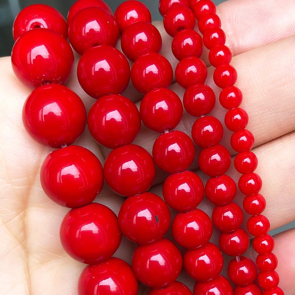 Imitez les perles de pierre de corail rouge rondes perles entretoises en vrac pour la fabrication de bijoux Bracelet à bricoler soi-même accessoires 15brins 4 6 8 10 12mm
