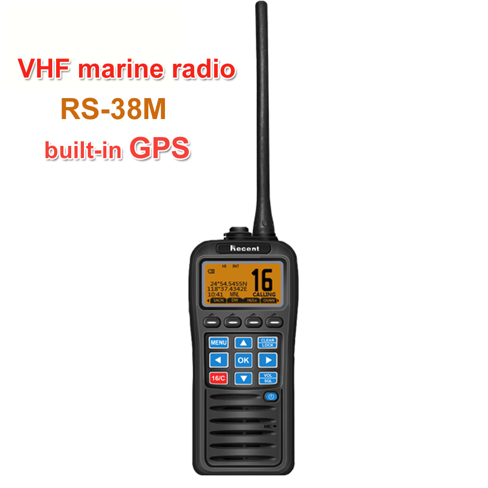With GPS VHF Marine Radio RS-38M IP67 Waterproof Float Walkie Talkie Tri-watch 156.025-157.425MHz Transceiver Two Way Radio