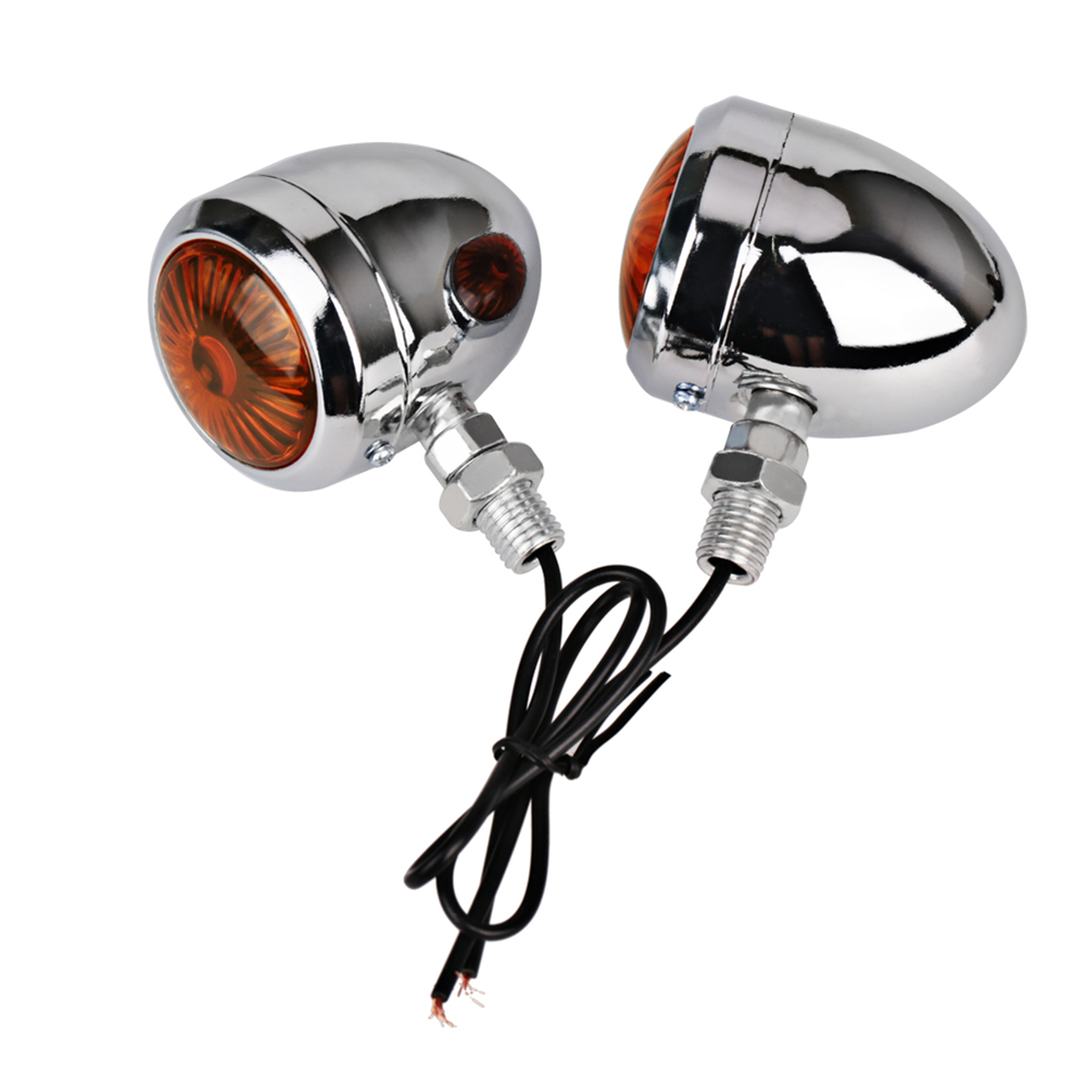Motorcycle Turn Signals Indicator for Harley Universal 12V Retro Motorbike Signal Lights Metal Blinkers 2 pc Black Chrome