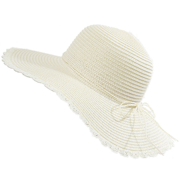 Fashion Straw Sun Hat Female Large Wide-Brimmed Hat With Bow Summer Vacation Beach Hat Milky White