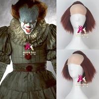 Halloween mens Stephen King IT Cosplay wig The Clown Pennywise Orange hair Halloween role play half orange hair wig