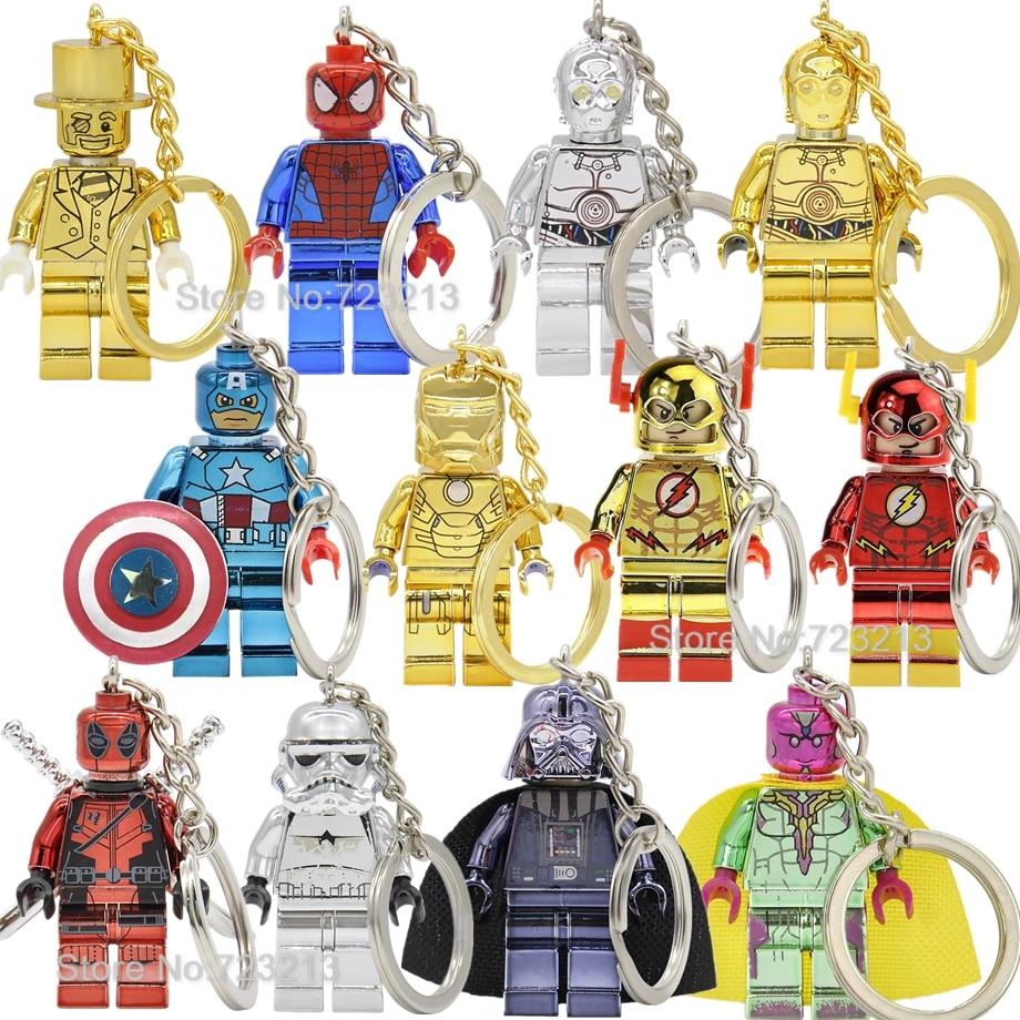Chrom Figure Keychain Mr Gold Spider Iron Man Vision C3PO Super Hero The Flash Darth Vader Building Blocks Bricks Toys Legoing