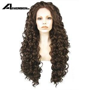 Image 4 - Anogolทนความร้อนลูกไม้ด้านหน้าด้านหน้าวิกผมสีน้ำตาลOmbre Dark Rootsวิกผมยาวสังเคราะห์Kinky CurlyธรรมชาติผมWigsสำหรับผู้หญิง