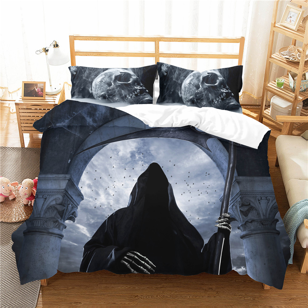 Quilts And Comforter Set 3D Scary Skull Demon Printed Duvet Cover Home Textiles With Pillowcase King Queen Size For Adult