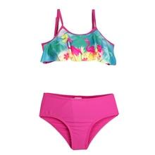 2019 New Model Girls 2 Piece Swimwear Bikini Set 3-10 Y Kids Children Two Pieces Swimsuit Child Greenand Magenta Tankini