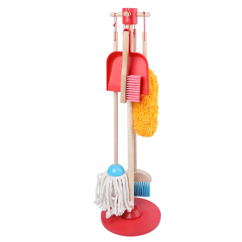 Let's Play Together Dust Sweep Mop Play House Toy Cleaning Set (6 Piece Set, Broom, Mop, Dust, Organizer, Great Gift For Girls A