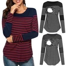 Женская блузка для беременных с длинным рукавом в полоску, топы для кормящих мам, футболка для кормящих мам, Женская Повседневная Зимняя Блузка, рубашка C50