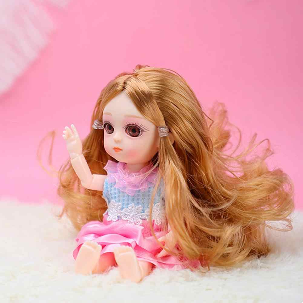16 Cm Bergerak Jointed Boneka Mainan Kecil Puding Boneka 3D Mata Besar Akrilik Kecantikan BJD Boneka Fashion Mainan untuk Anak Perempuan boneca Reborn