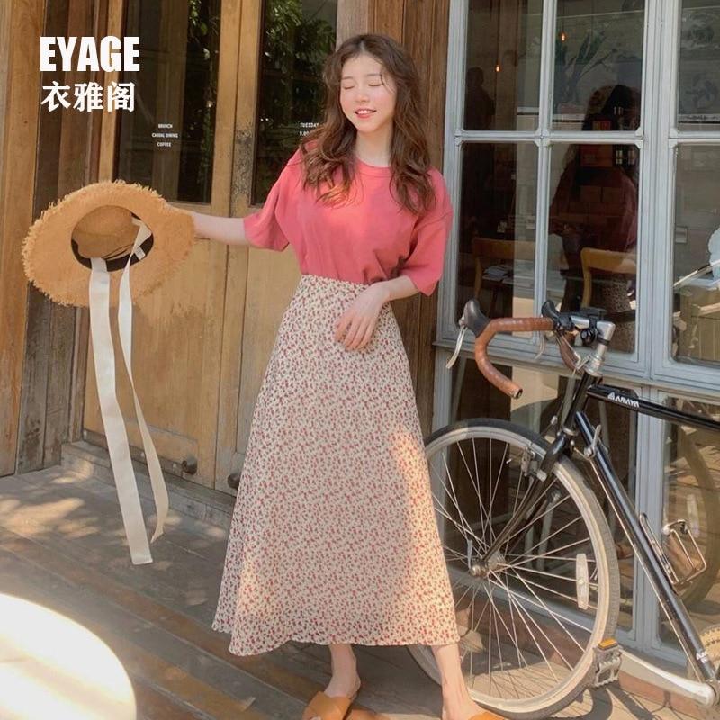 2019 Summer Versatile Explicit Light Pink T-shirt + Playful Cute Floral-Print Skirt Slimming High-waisted Mid-length Suit Skirt
