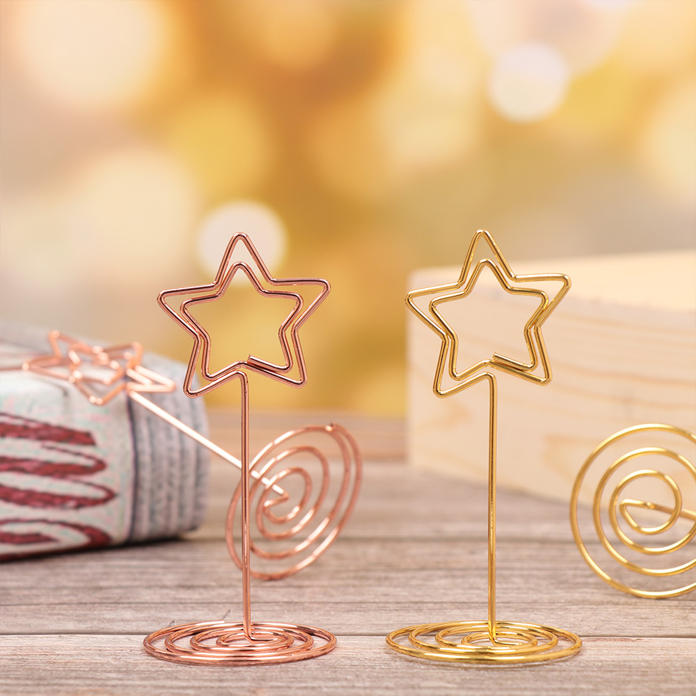 1/3Pcs Five-pointed Star Note Clip Metal Spring Bottom Table Name Number Holders Place Card Clips Photo Stand Wedding Decoration