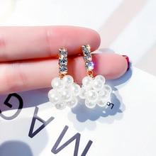 temperament Pearl simple earrings Xiao Xiang Feng Korean version of ear pendant girl heart decoration 100 fashion earnails