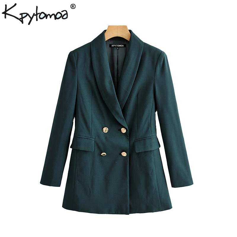 Vintage Stylish Office Lady Double Breasted Blazer Coat Women 2019 Fashion Notched Collar Long Sleeve Outerwear Chic Tops