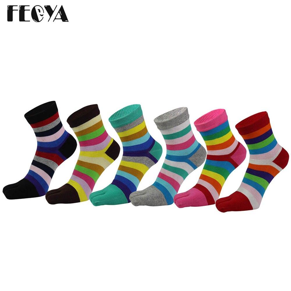 6 Pairs / Lot Autumn Winter Women Socks Cotton Fashion Five Fingers Toe Socks Rainbow Stripe Breathable Long Sock