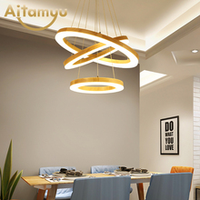 Modern LED Pendant Lights For Dining Wooden Rings Lamp Hotel Suspension Foyer Wood Light Hall Lighting Fixture