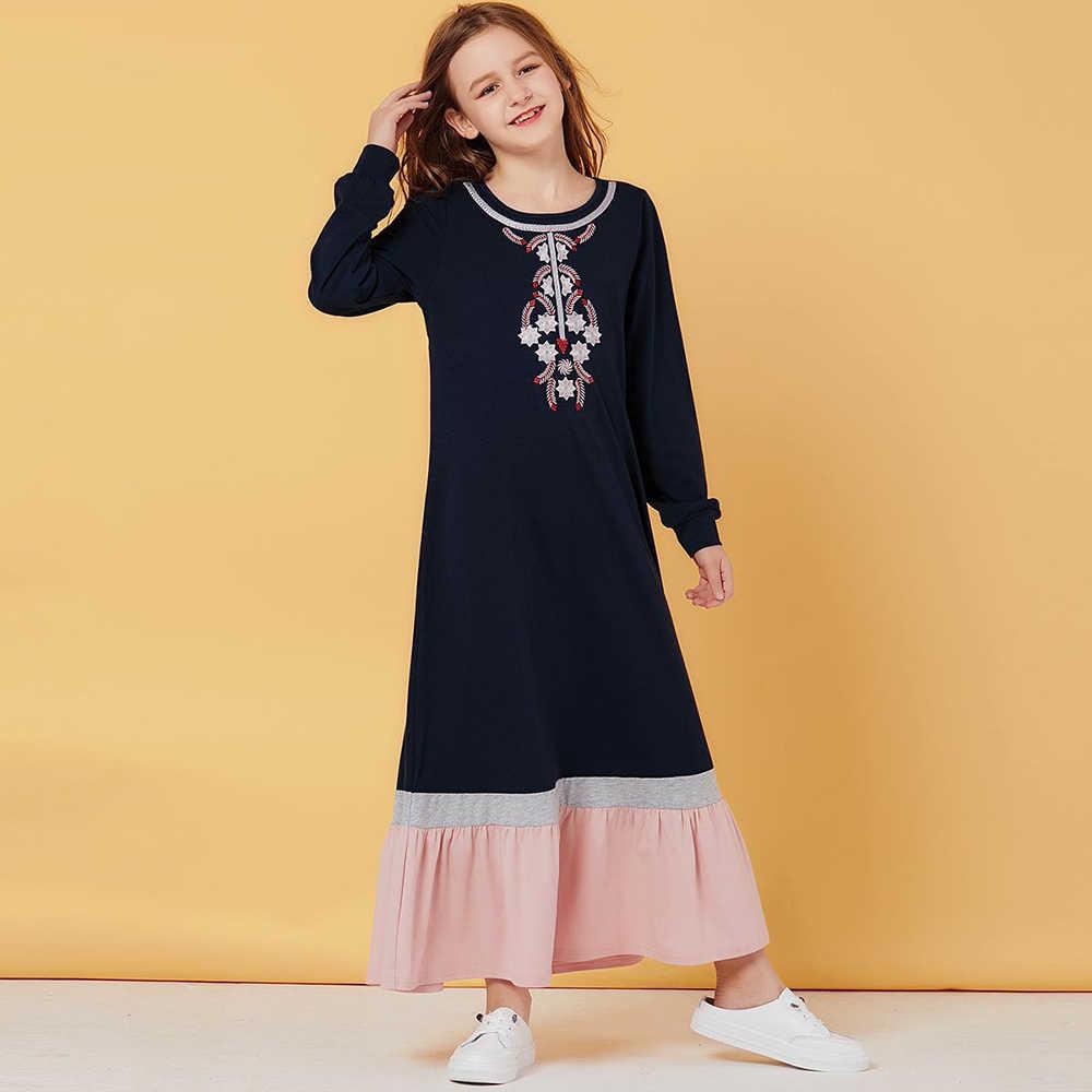 소녀를위한 옷 8 ~ 12 세 어린이를위한 무슬림 Abaya 터키 어린이 Hijab 드레스 Abayas Kaftan 두바이 이슬람 의류