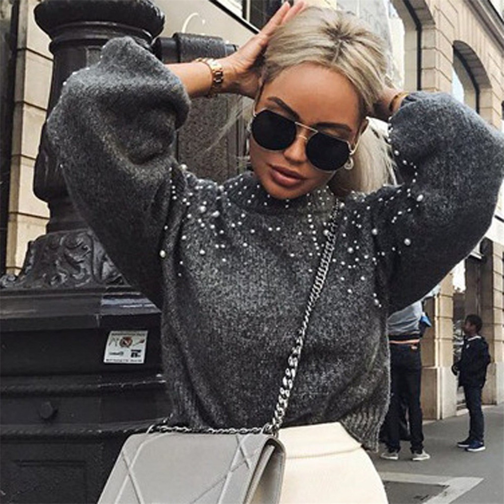 Women's Casual Sweater Thick Needle O-neck Long Sleeve Pullover Sweater Autumn Winter Casual Loose Pearl Sweaters Femme Clothes