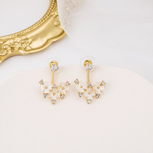 Korean Style Elegant White Arcylic Flower Drop Earrings for Women 2020 Summer Gold Color Metal Shiny CZ Dangle Earrings Jewelry dreamcarnival 1989 brand new elegant women dangle earrings vintage 2 levels tassels bone blue color cz unique collection we3855