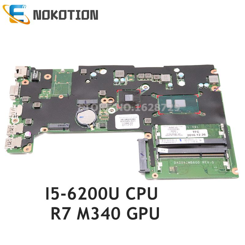 NOKOTION For HP 430 G3 laptop motherboard SR2EY I5-6200U CPU R7 M340 GPU DDR3L 830945-001 830945-501 830945-601 DA0X61MB6G0