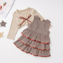New Arrival Girl Dress Shoulder Cardigan Set Baby Fall Clothing Layered dress Girls 2pcs