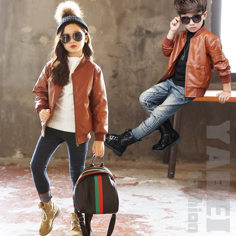 Children Leather Coat Girls 2020 Spring and Autumn Clothing Korean Boys Pu Leather Jacket