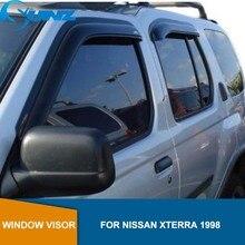 שחור צד חלון Deflectors לניסן Xterra 1998 חלון Visor Vent גווני גשם הטית משמר רכב סטיילינג SUNZ