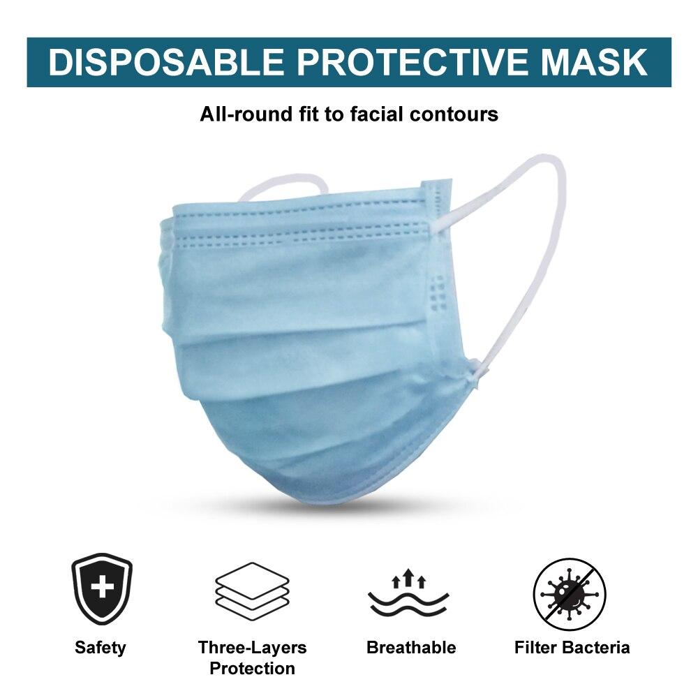 50PCS Face Masks Disposable 3 Layers Dustproof Mask Facial Protective Cover Masks Set Anti-Dust Surgical Salon Earloop