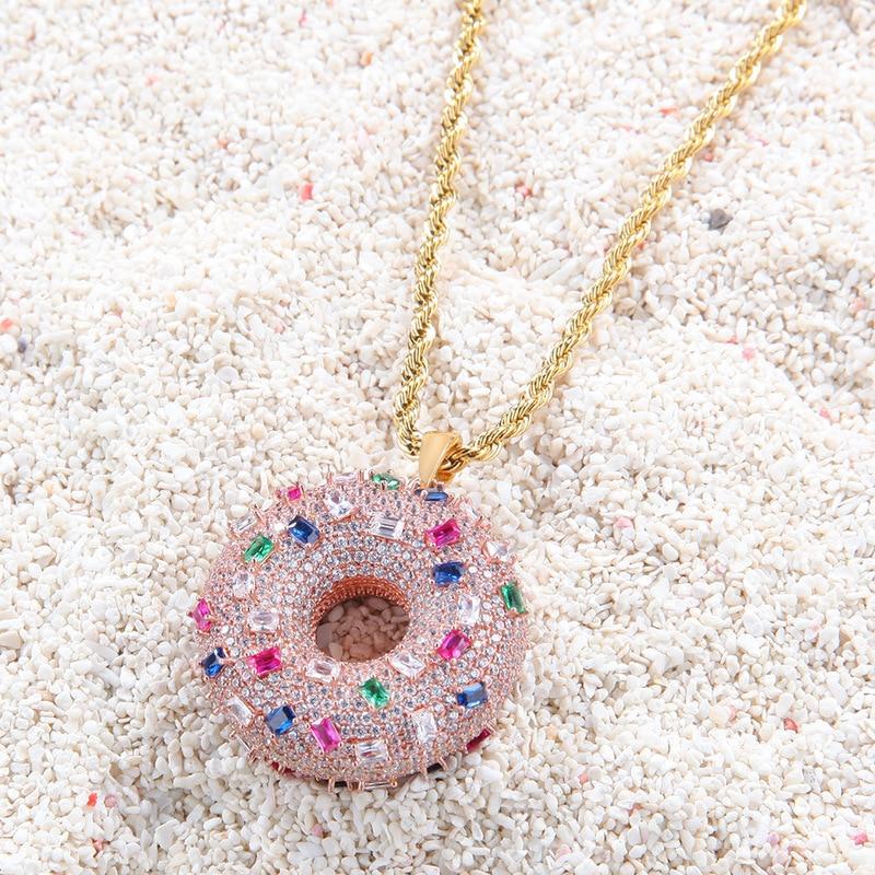 Пончик персонализированное ожерелье с подвеской Циркон модное металлическое хип хоп модное мужское и женское квадратной формы с цирконом золотое ожерелье ювелирные изделия