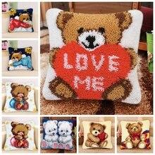 Bear Latch Hook Kits Diy Smyrna Knooppakket Klink Haak Kleed Bloemen Latch Hook Pillow Cross Stitch Pillows Foamiran For Flower
