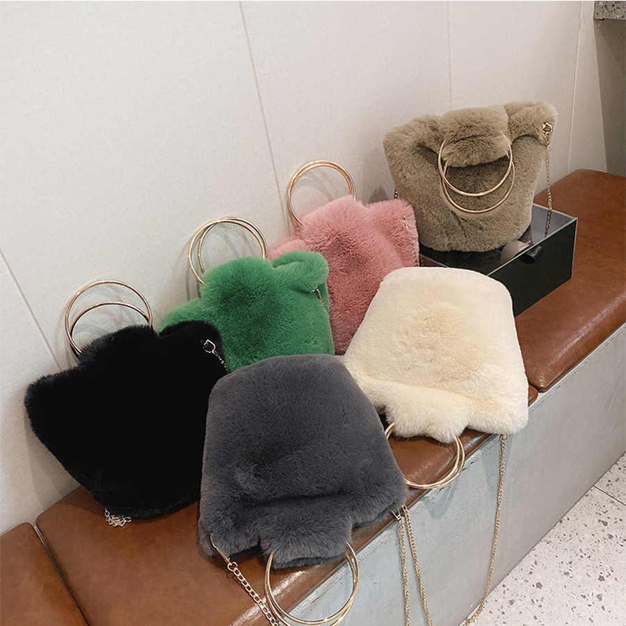 Femmes Plush Bandoulière en polaire chaude Sacs à main Casual Sacoche aisselles sac pochette