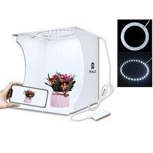 32*32cm pierścień Lightbox składany namiot do zdjęć fotografia Softbox podświetlana tablica Studio strzelanie pudełko w kształcie namiotu zestaw z 6 kolorowymi tłem