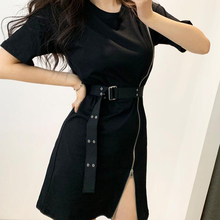 Korean Style Designer Vintage Zipper Split Shirt Dress With