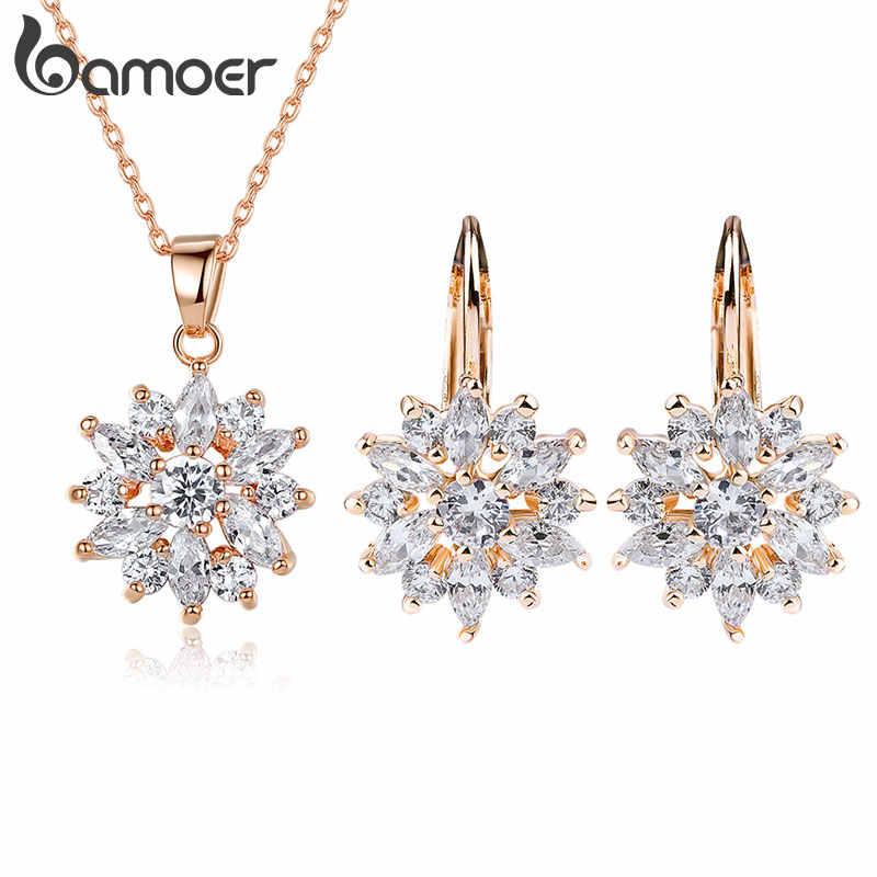 BAMOER Luxus Gold Farbe Blume Braut Schmuck Sets & Mehr Für Frauen Hochzeit mit Bunte Cubic Zirkon Engagement Schmuck