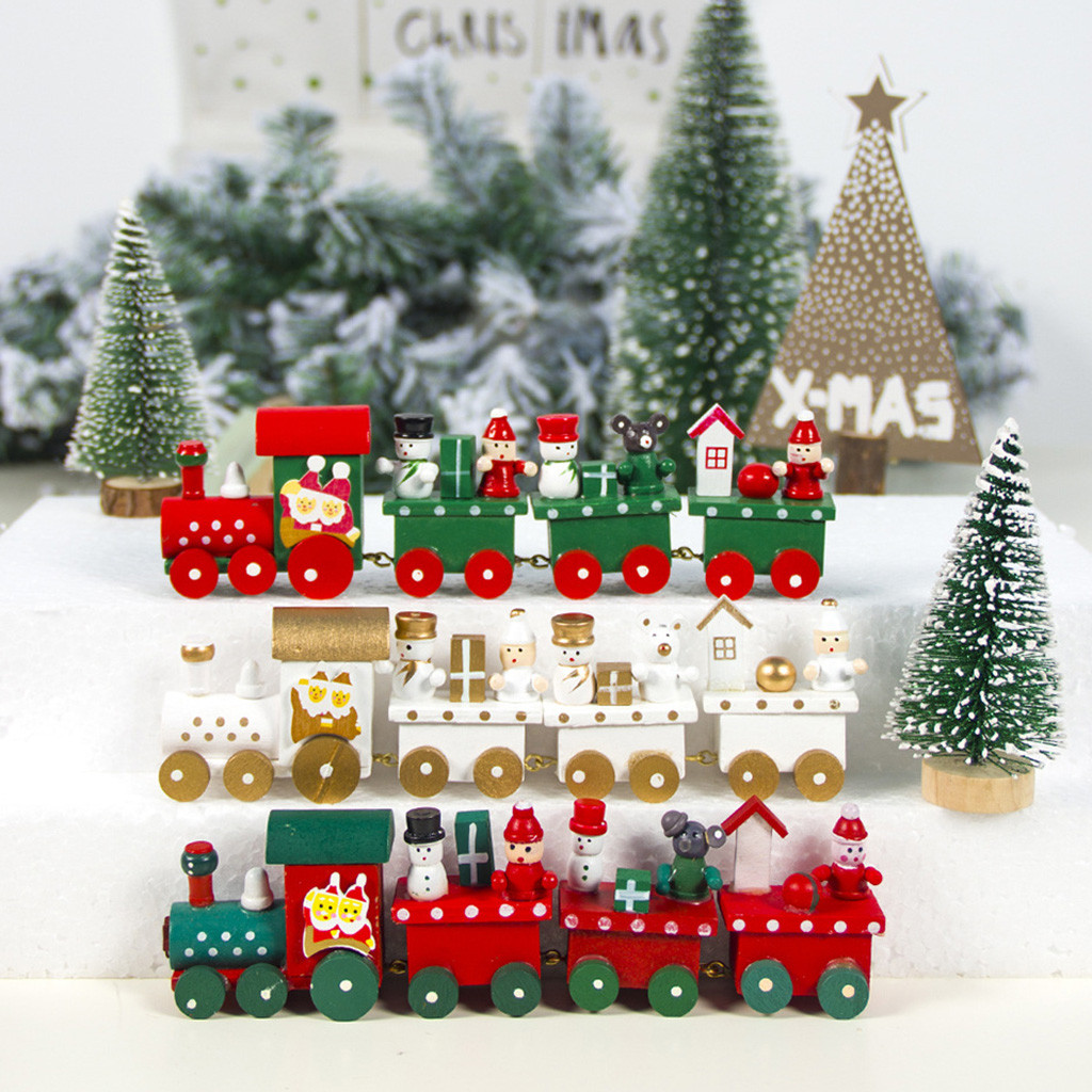 Us 1 8 30 Off Figurines Miniatures Ornament Christmas Decorations Christmas Wood Small Train Children Kindergarten Festive New Year Home Decor On