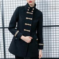 Women autumn double breasted gold embroidery button wool coat slim fit casual work military army woolen blends coat