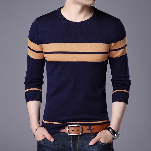 In the spring of 2020 men new stripe of cultivate one's morality round collar thin sweater sweater youth 1