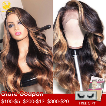 Alisa Hair Balayage Human Hair wigs Lace Front Wigs Ombre Honey Blonde Color Highlights Virgin Brazilian Wigs for Black Women