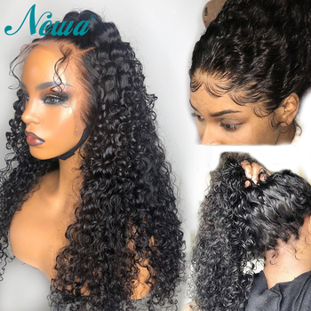 Newa Hair 360 Lace Frontal Wig Human Hair With Baby Hair Brazilian Curly Lace front Wig Pre Plucked Bleached Knots Remy Hair Wig
