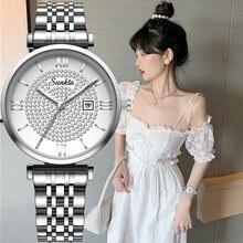 Модные женские часы sunkta с браслетом из розового золота новинка