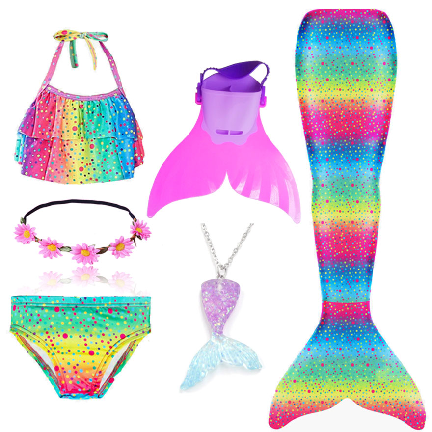 H65a2ac242ade4c8aae94f87f87f1c2a5X - Kids Swimmable Mermaid Tail for Girls Swimming Bating Suit Mermaid Costume Swimsuit can add Monofin Fin Goggle with Garland