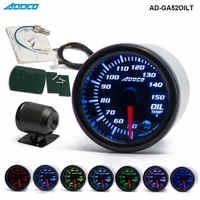 """Car Auto 12V 52 millimetri/2 """"7 Colori Universale Oil Temp Gauge LED Con Sensore e Supporto AD-GA52OILT"""