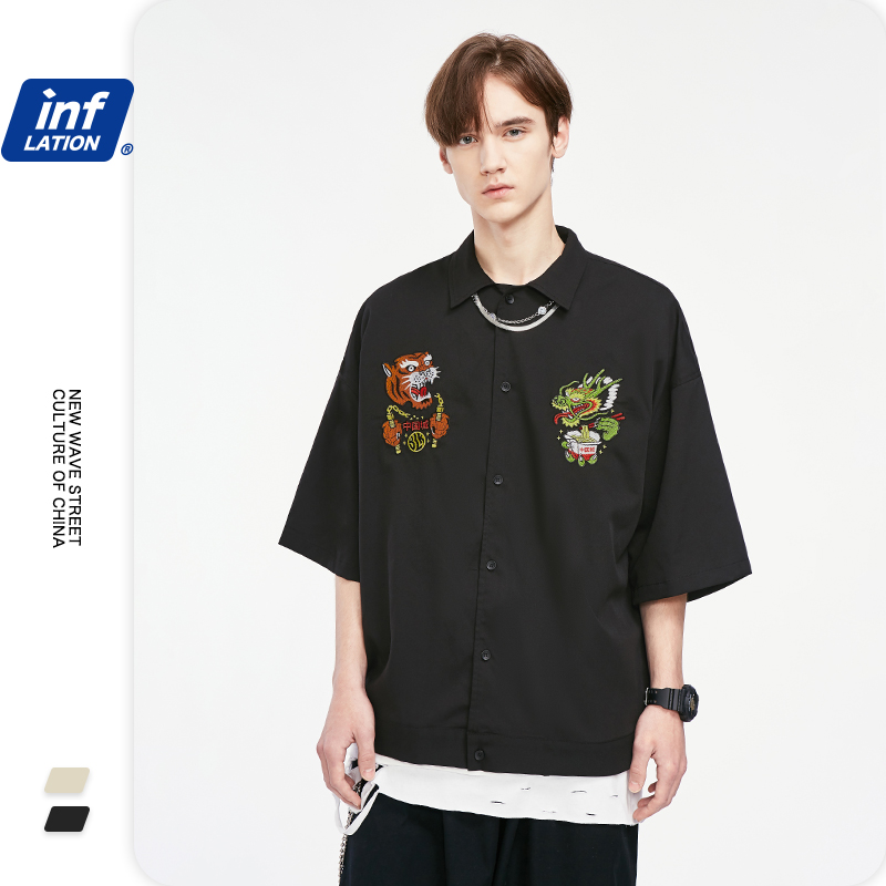 INFLATION Men Shirts With Dragon Tiger Embroidery Oversize Men Shirt Short Sleeve Plus Size Streetwear Hip Hop Men Shirt 2071S20