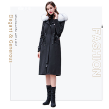 2019 winter fashion women coat real fur in Real Fur parka collar  rabbit liner jacket Womens fox