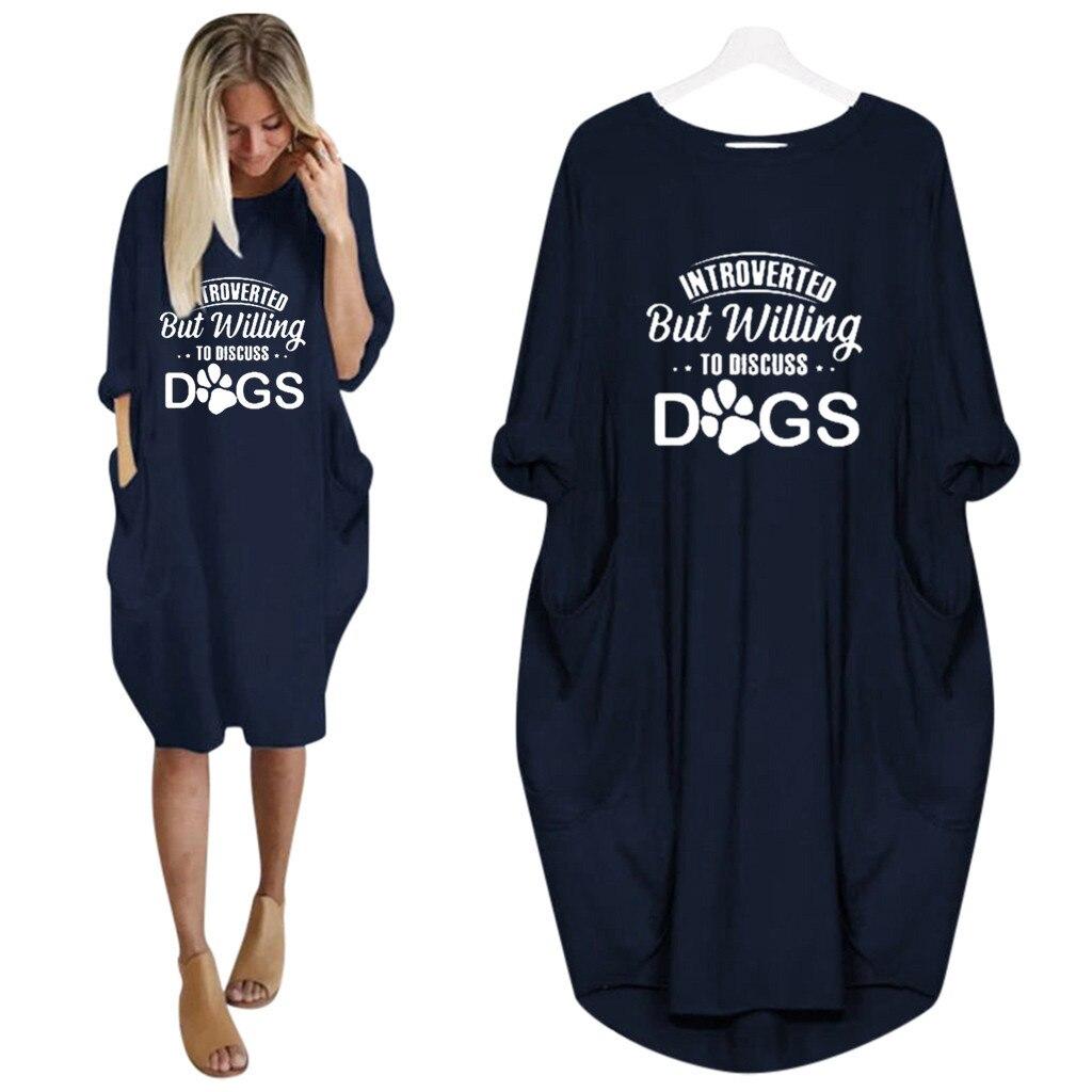 Carta de impressão camisa vestido feminino jumper senhora oversized baggy manga curta bolso pulôver mini vestidos de verão casual - 3