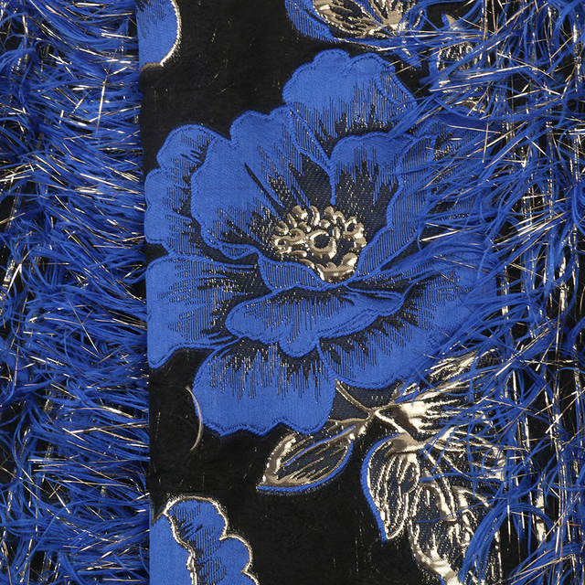 Best Quality Jacquard Lace Royal Blue Brocade Fabric with Feather Nigerian Tulle Mesh Lace for Bridal Brocade Lace APW3019B