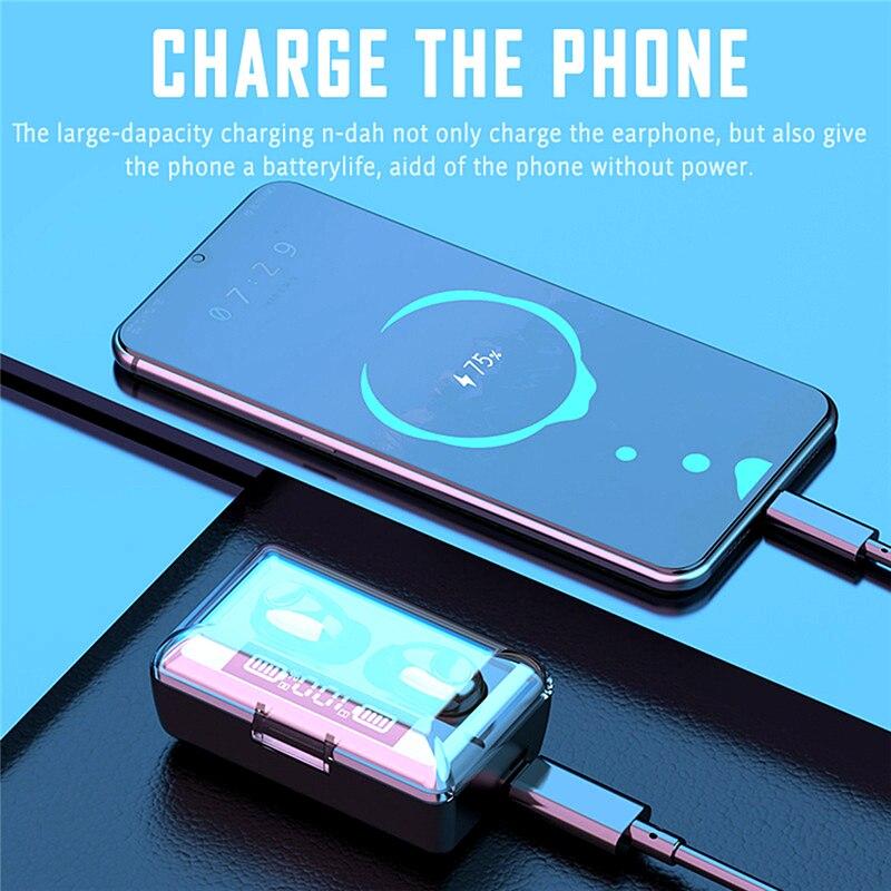 Wireless Headphone TWS Bluetooth 5.0 Stereo Headset Sport Earphone 2200mAh Charging Box Microphone Waterproof Headsets Earbuds