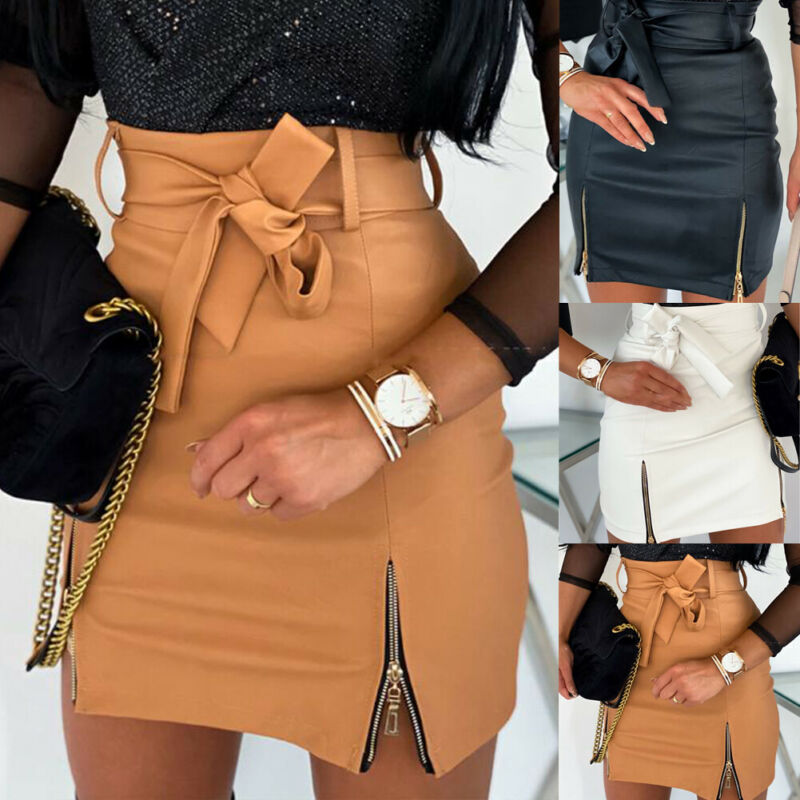 2020 New Women's Fashion Bandage PU Leather Skirt Zippers Ladies High Waist Pencil Bodycon Short Mini Skirt Casual Club Clothes