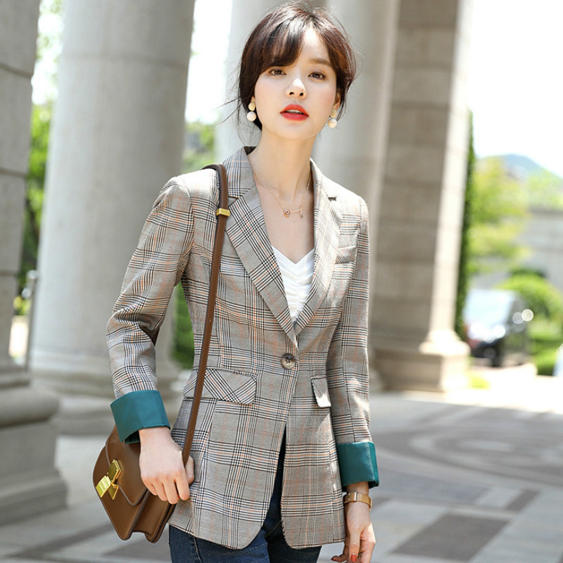 2019 New High Quality Ladies Check Jacket Casual Temperament Slim Double Pocket Women's Blazer Autumn And Winter Office Suit