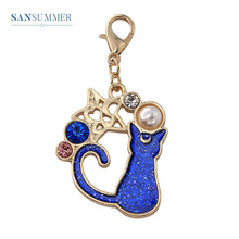 Sansummer 2019 New Hot Fashion Cute Cat Stars Casual Dangle Pearl Moon Rhinestone Popular Key Chain For Women Jewelry