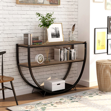 Rustic Industrial Design Living Room Table Demilune Shape Textured Metal Distressed Wood Console Table Three Layer